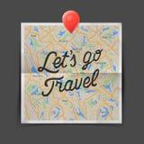 reis concept Tekst - laat is gaan reis op de kaart naadloze achtergrond Stock Fotografie