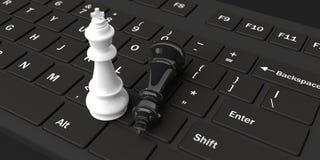 reis da xadrez da rendição 3d em um teclado ilustração stock