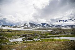 Reis in de bergen van Noorwegen bij de zomer Royalty-vrije Stock Foto's