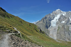 Reis DE Mont Blanc wandelingssleep stock afbeeldingen