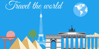 Reis de wereld, de wereldoriëntatiepunten, de reis en toerismeachtergrond Rond de Wereld Stock Fotografie