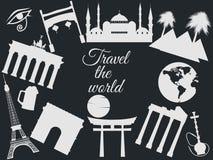 Reis de wereld, de wereldoriëntatiepunten, de reis en toerismeachtergrond Rond de Wereld Stock Afbeeldingen