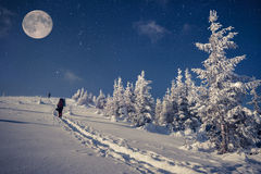 Reis in de winterbergen bij de nacht met sterren en een volle maan Royalty-vrije Stock Foto's