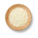 Reis in der hölzernen Platte Stockbilder