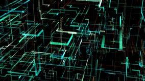 Reis door drie-afmeting digitaal Kunstmatig Neuraal Netwerk royalty-vrije illustratie