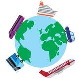 Reis door vervoer rond de wereld. Stock Afbeeldingen