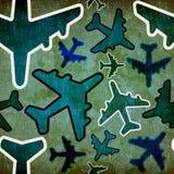 Reis door vliegtuig uitstekend patroon Stock Afbeelding