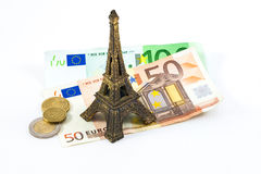 Reis Eiffel en euro Royalty-vrije Stock Afbeeldingen