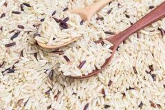 Reis in einem hölzernen Löffel Lizenzfreie Stockbilder