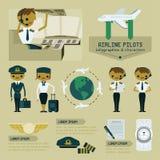 Reis en avonturen grafische informatie en karakter - reeks Stock Foto's