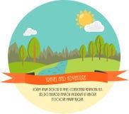 Reis en avontuur Mooie minimale vlakke vectorillustratie Landschap met bomen, rivier, wolken en de Zon Stock Foto