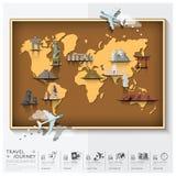 Reis en de Kaart van de Reiswereld met Beroemd Oriëntatiepunt Infographic stock illustratie