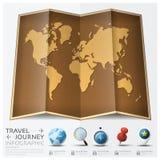 Reis en de Kaart van de Reiswereld met Punt Mark Infographic Royalty-vrije Stock Foto's