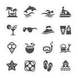 Reis en de zomer de reeks van het strandpictogram, vectoreps10 Stock Afbeeldingen