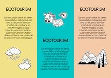 Reis en eco-toerismeaffiches met hand-drawn pictogrammen en gebied voor tekst stock afbeeldingen