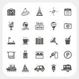 Reis en Hotel geplaatste pictogrammen Stock Afbeeldingen
