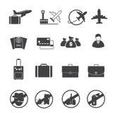 Reis en Luchtvervoer geplaatste pictogrammen Stock Afbeeldingen
