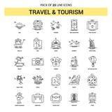 Reis en Toerisme Geplaatst Lijnpictogram - 25 Gestormde Overzichtsstijl royalty-vrije illustratie