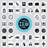 Reis en toerisme geplaatste pictogrammen Stock Foto