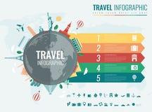 Reis en toerisme Infographic met grafieken en andere elementen wordt geplaatst dat Vector Stock Foto's