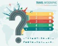 Reis en toerisme Infographic met grafieken en andere elementen wordt geplaatst dat Vector Royalty-vrije Stock Afbeelding