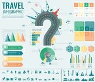 Reis en toerisme Infographic met grafieken en andere elementen wordt geplaatst dat Vector Stock Afbeelding