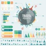Reis en toerisme Infographic met grafieken en andere elementen wordt geplaatst dat Vector Royalty-vrije Stock Foto's