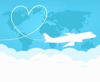 Reis en toerisme rond de wereld door vliegtuig royalty-vrije illustratie