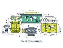 Reis en toerisme Vlakke stijl Wereld, aardekaart Bol Reis, reis, reis, de zomervakantie Het reizen, het onderzoeken Stock Fotografie