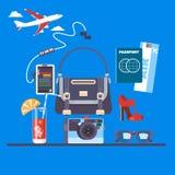Reis en toerismeachtergrond Het kopen of het boeken online kaartjes Reis, bedrijfsvluchten wereldwijd Vlakke vector Royalty-vrije Stock Foto