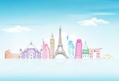 Reis en Toerismeachtergrond met Beroemde Wereldoriëntatiepunten Stock Afbeelding