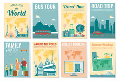 Reis en Toerismebrochurereeks Malplaatje van tijdschrift, affiche, boekdekking, banner, vlieger Vector Royalty-vrije Stock Foto's