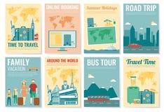 Reis en Toerismebrochurereeks Malplaatje van tijdschrift, affiche, boekdekking, banner, vlieger Vector Royalty-vrije Stock Afbeeldingen