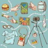 Reis en toerismepictogramdingen voor het reizen Royalty-vrije Stock Afbeelding