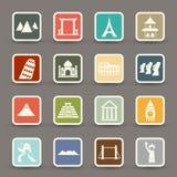Reis en toerismeplaatsenpictogrammen Stock Foto's