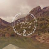 Reis en vakantie de banner van het Webontwerp Uitstekend motievenkenteken voor onscherp fotografisch landschap Royalty-vrije Stock Afbeeldingen