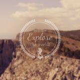 Reis en vakantie de banner van het Webontwerp Uitstekend motievenkenteken voor onscherp fotografisch landschap Stock Afbeelding