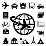 Reis en vakantie geplaatste Pictogrammen Stock Afbeelding