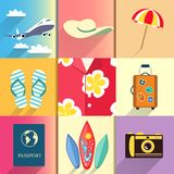 Reis en vakantie geplaatste pictogrammen Royalty-vrije Stock Foto