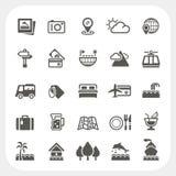 Reis en Vakantie geplaatste pictogrammen Stock Afbeeldingen