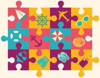 Reis en Vakantie vlakke pictogrammen royalty-vrije illustratie