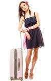 Reis en Vakantie Vrouw met de zak van de kofferbagage Royalty-vrije Stock Afbeeldingen