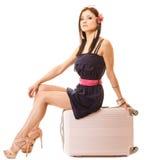 Reis en Vakantie Vrouw met de zak van de kofferbagage Stock Foto
