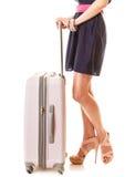 Reis en Vakantie Vrouw met de zak van de kofferbagage Stock Foto's