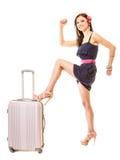 Reis en Vakantie Vrouw met de zak van de kofferbagage Royalty-vrije Stock Foto's