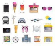Reis en vakantiepictogrammen Royalty-vrije Stock Afbeeldingen