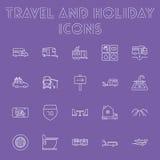Reis en vakantiepictogramreeks Stock Afbeelding