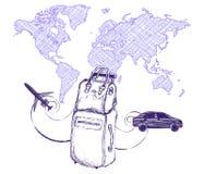Reis en van het reizenconcept zakkoffer op de achtergrond van de wereldkaart Imitatietekening met een ballpoint of een potlood Stock Afbeeldingen