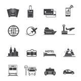 Reis en vervoers geplaatste pictogrammen Stock Afbeeldingen