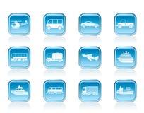 Reis en vervoerspictogrammen Royalty-vrije Stock Afbeeldingen